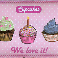 plaque métal vintage CUPCAKES we love it - TOFMOBILE