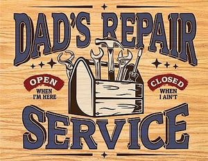 plaque métal vintage DAD'S REPAIR SERVICE - TOFMOBILE