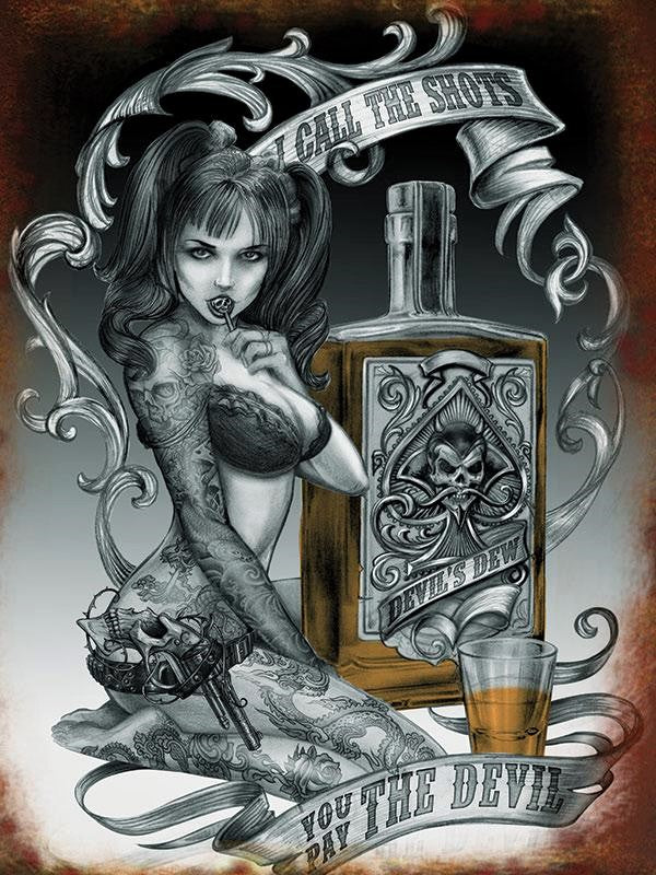 PLAQUE METAL vintage PIN UP TATTOO DEVIL - TOFMOBILE