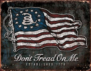 plaque métal vintage DON'T TREAD ON ME 1776 - TOFMOBILE