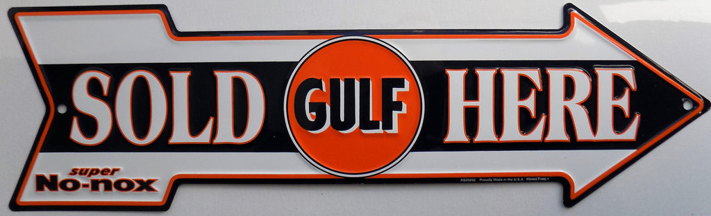 plaque flèche vintage GULF sold here - TOFMOBILE