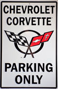 plaque métal vintage CHEVROLET CORVETTE PARKING ONLY - TOFMOBILE