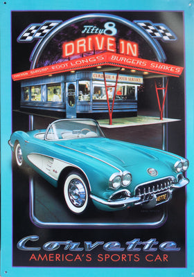 plaque métal vintage CORVETTE 58 DRIVE IN - TOFMOBILE