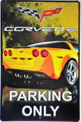 plaque métal vintage CORVETTE PARKING ONLY - TOFMOBILE