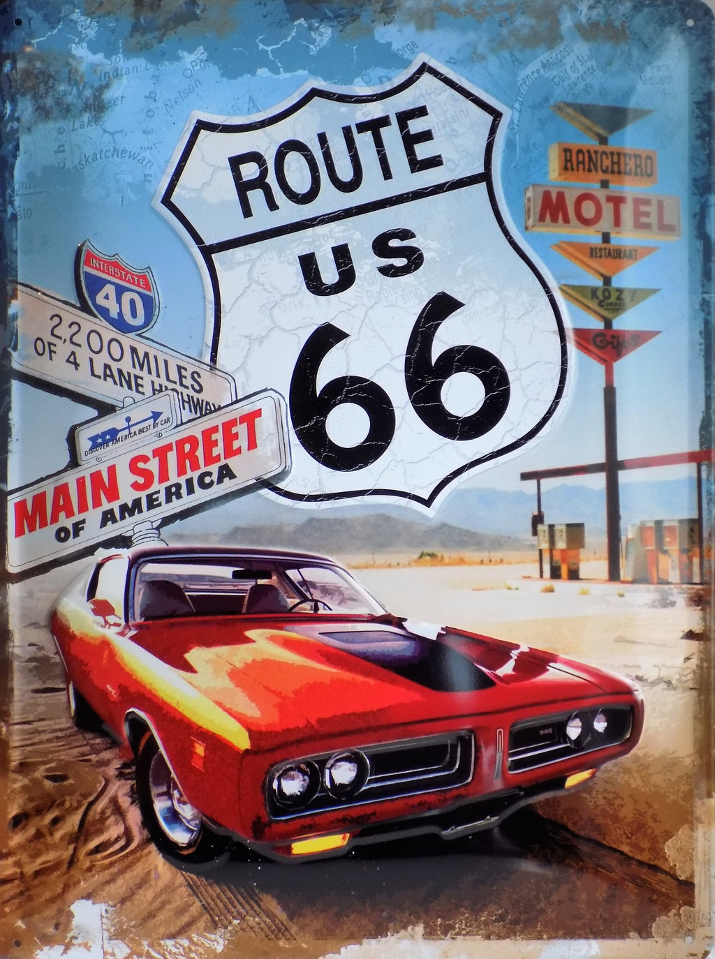plaque métal vintage ROUTE 66 MAIN STREET OF AMERICA - TOFMOBILE