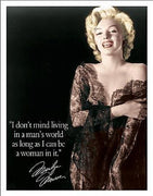 PLAQUE METAL  vintage MARILYN MONROE in a man's world - TOFMOBILE