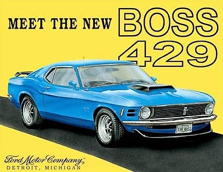 plaque métal vintage FORD MUSTANG BOSS 429 - TOFMOBILE