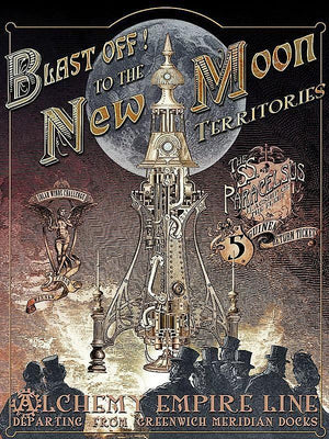 PLAQUE METAL STEAMPUNK  alchemy BLAST OFF to the NEW MOON - TOFMOBILE
