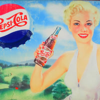 PLAQUE METAL vintage PEPSI COLA pin up - TOFMOBILE