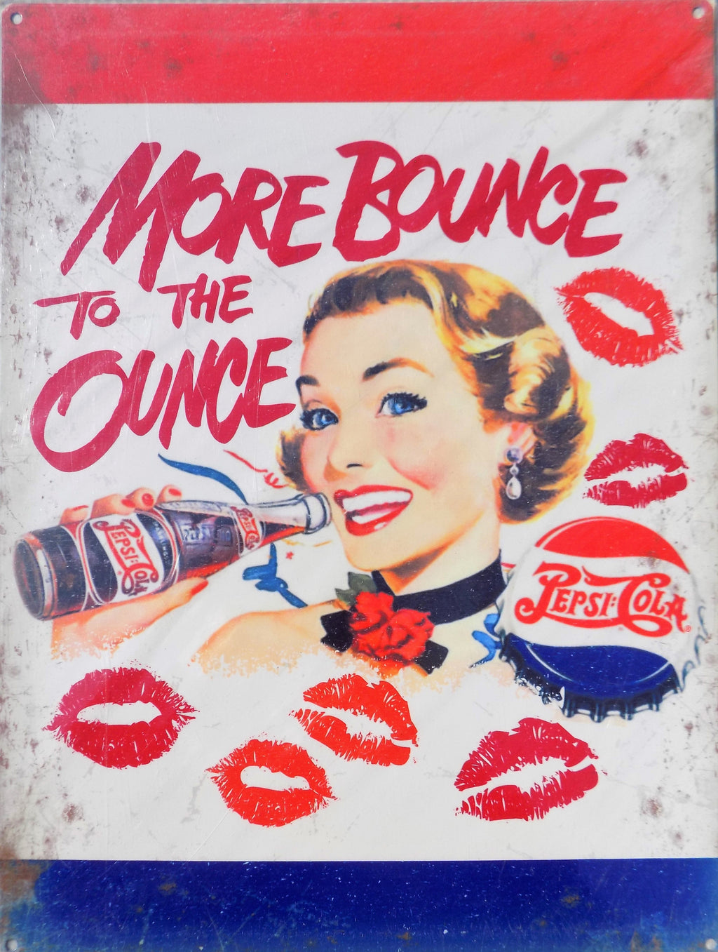 PLAQUE METAL vintage PEPSI COLA more bounce - TOFMOBILE