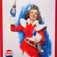 PLAQUE METAL vintage PEPSI COLA patineuse - TOFMOBILE