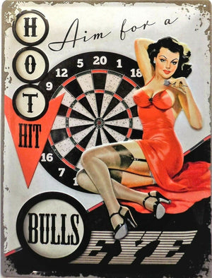 plaque métal vintage PIN UP BULLS EYE HOT HIT - TOFMOBILE