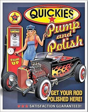 plaque métal VINTAGE PIN UP hot rod QUICKIES - TOFMOBILE