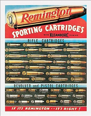 plaque métal vintage REMINGTON sporting cartridges - TOFMOBILE