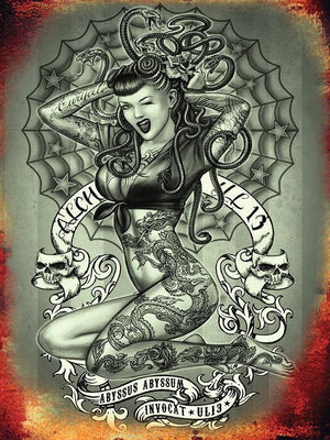 PLAQUE METAL vintage PIN UP TATTOO ABYSSUS - TOFMOBILE
