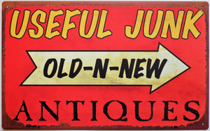 plaque métal vintage USEFUL JUNK ANTIQUES - TOFMOBILE