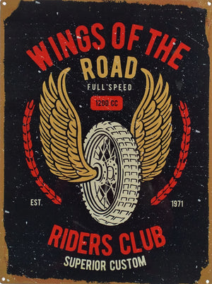 plaque métal vintage WINGS ON THE ROAD - TOFMOBILE
