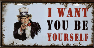 plaque métal vintage ONCLE SAM I WANT YOU BE YOURSELF - TOFMOBILE