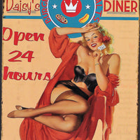 plaque métal vintage PIN UP DAISY'S DINER - TOFMOBILE