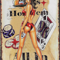 plaque métal vintage PIN UP HOT EM ALL IN - TOFMOBILE