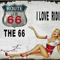 plaque métal vintage PIN UP I LOVE RIDING THE 66 - TOFMOBILE