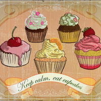 plaque métal vintage KEEP CALM, EAT CUPCAKES - TOFMOBILE