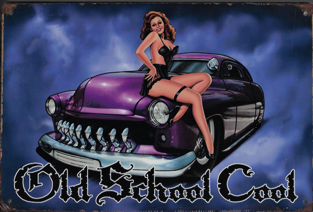 plaque métal vintage PIN UP OLD SCHOOL COOL - TOFMOBILE