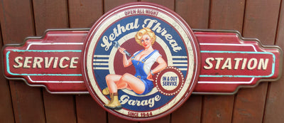 plaque métal vintage LETHAL THREAT GARAGE