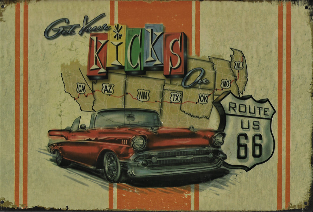 plaque métal vintage ROUTE 66 GET YOUR KICKS - TOFMOBILE