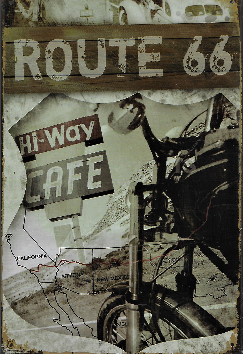 plaque métal vintage ROUTE 66 HI WAY CAFE - TOFMOBILE