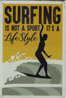 plaque métal vintage SURFING IS LIFESTYLE