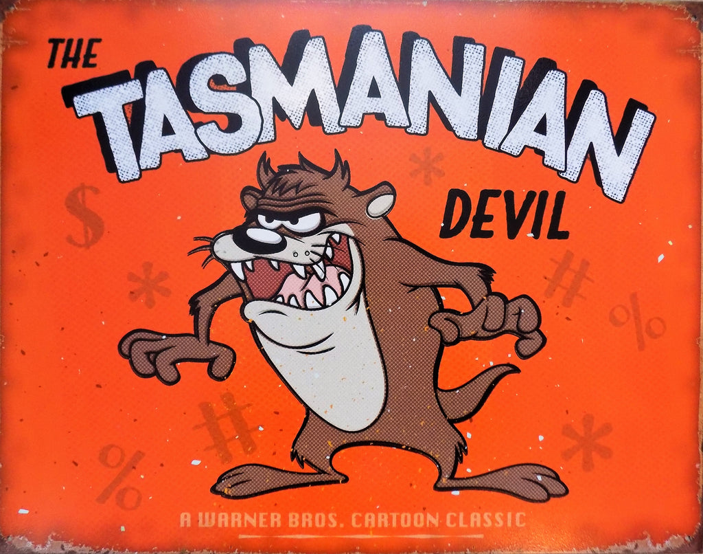PLAQUE METAL vintage TASMANIAN DEVIL