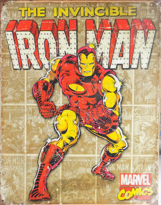 PLAQUE METAL vintage MARVEL THE INVINCIBLE IRON MAN