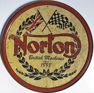 plaque métal vintage NORTON BRITISH MACHINES