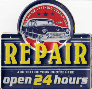 plaque métal vintage REPAIR OPEN 24 HOURS