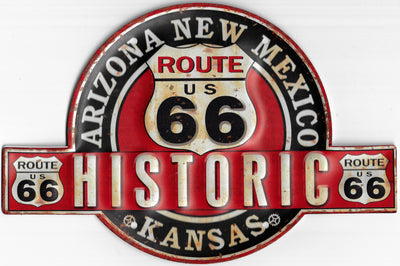 plaque métal vintage HISTORIC ROUTE 66