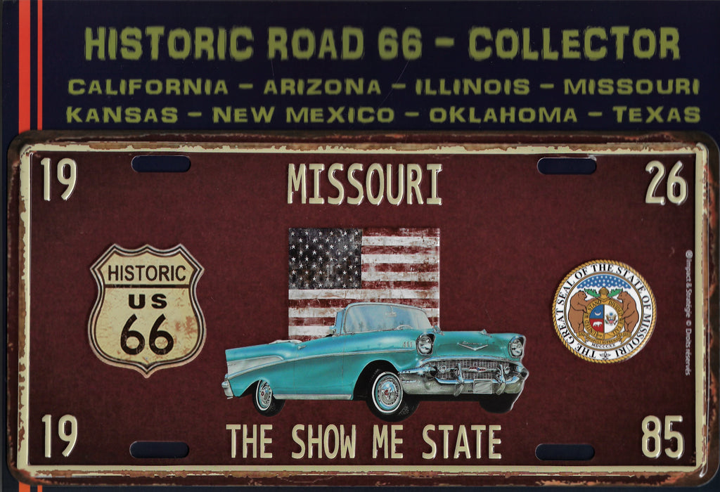 plaque métal vintage ROUTE 66 MISSOURI HISTORIC ROAD