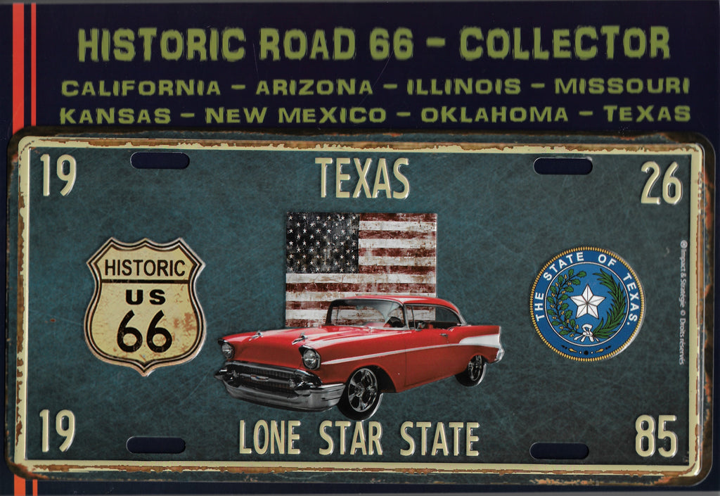 plaque métal vintage ROUTE 66 TEXAS HISTORIC ROAD