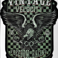 plaque métal VINTAGE VELOCITY FREEDOM RACING