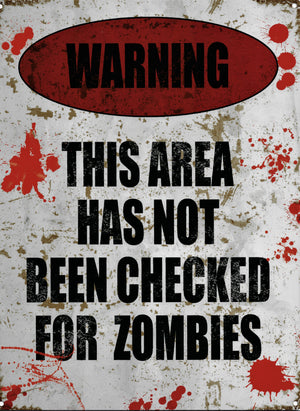 plaque métal vintage WARNING THIS AREA ZOMBIES