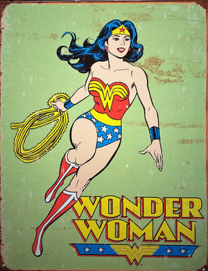 PLAQUE METAL vintage WONDER WOMAN RETRO