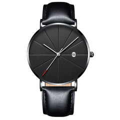 Matthew Wiles Ultra Thin Luxury Mens Watch Black Leather MW0073