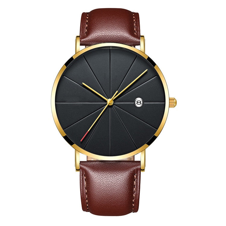 Matthew Wiles Ultra Thin Luxury Mens Watch Gold Leather MW0072