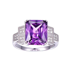 Purple stone Genuine silver Ring Jewelry For Women