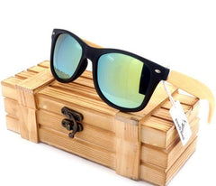 Men's Wood Sunglasses Vintage Style Polarized UV Protection Color Lens In Gift Box