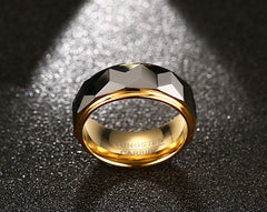 Mens Wedding Rings Geometric Carbide NEW