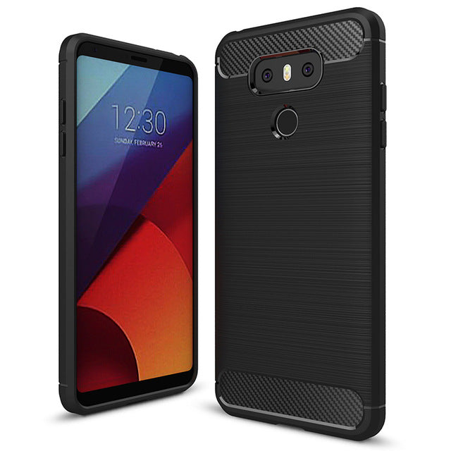 Phone Case For LG G6  Carbon Fiber Brushed Wire Drawing Silicone Cover For LG G 6 LGG6 5.7 inch Mobile Phone Shell