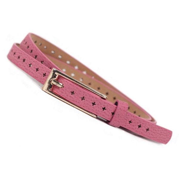 Factory Price, New Women Lady PU Leather Skinny Thin Narrow Buckle Waist Belt Waistband Strap