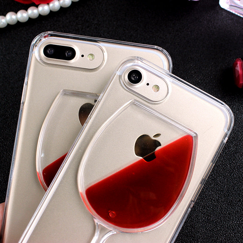 iPhone 8 Fashion Luxury Red Wine Cup Liquid Transparent Case NEW