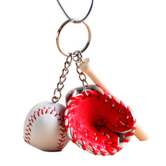 Mini Baseball Bat Glove Set Leather Wood Key Chain Keyring